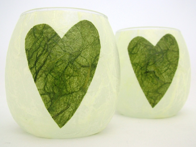 Apple Green and Olive Green Folk Heart